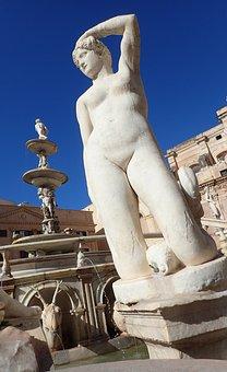 Statue, Nude, Palermo, Fountain