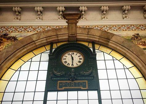 Porto, Portugal, Train Station, Clock, Portuguese, City
