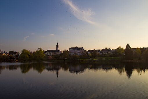 Sunset, Church, Mirroring, Water, Steeple, Sky, Romance