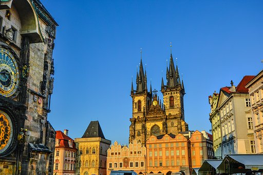 Prague, Czech, Church, Spires, Cathedral, Old, Town