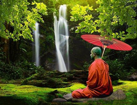 Monk, Waterfall, Nature, Tibetan, Buddhism, Asia