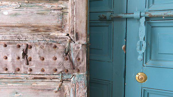 Doors, Antique, Oriental, Fittings, Weathered, Aging