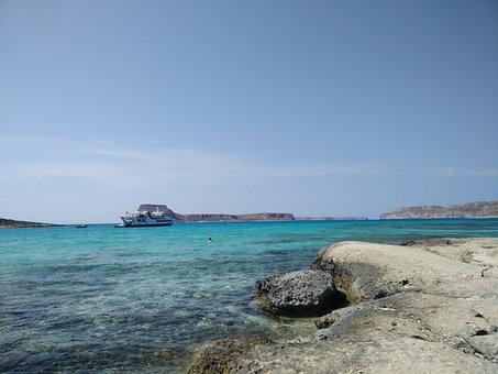 Sea, Boat, Creta, Balos, Blue, Dream, Happiness