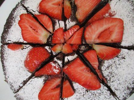 Strawberry, Cake, Birthday, Sweet, Homemade, Brownie