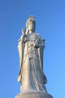 Matsu, Stone, Goddess, China, Faith, White, Solemn