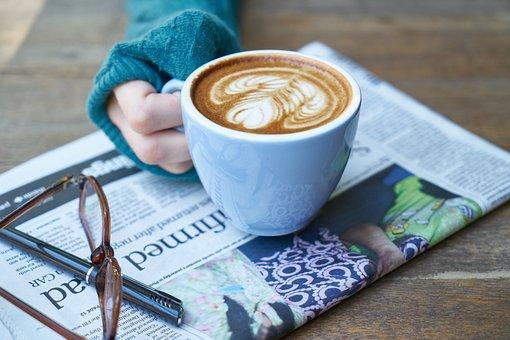 Coffee, Latte, Newspaper, Hands, El, Brown, Food