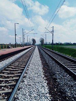Tracks, Train, Tram, Sky, Landscape, Metal, Locomotive