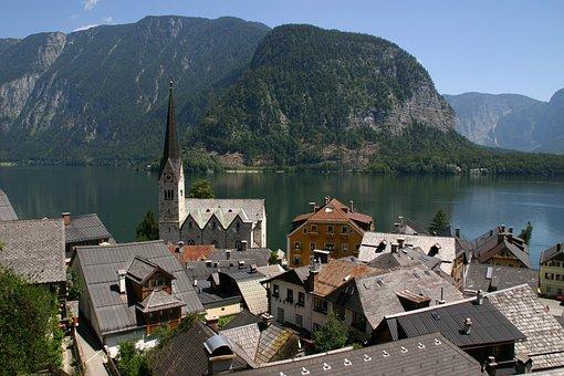 Hallstatt, Austria, Lake, Mountains, Water, Village