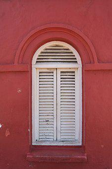 Window, White, Red, Houses, On, Old, Composition