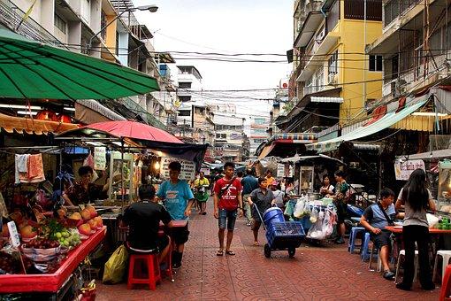 Market, People, Working, Work, Workers, Hats, Sale
