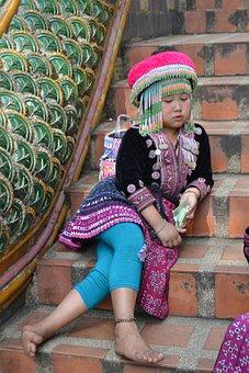 Girl, Sad, Sitting, Thailand, Color, Ladder, Culture