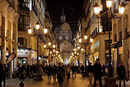 Night, City, People, Christmas, Street, Lights, Walk