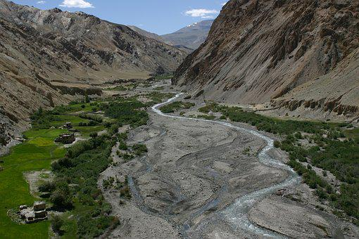 Valley, River, Ladakh, Water Courses, Field, Hiking