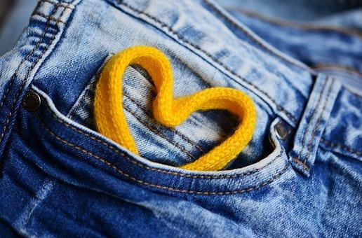 Jeans, Pocket, Heart, Cord, Blue, Seam, Affection, Love
