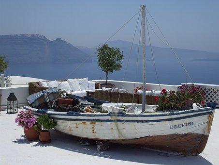 Boat, Santorini, Greece