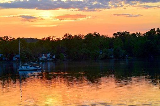 Sunset, Lake, Boat, Harbor, Water, Sky, Nature