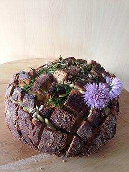 Bread, Chives, Sunflower Seeds, Flowers, Cheese