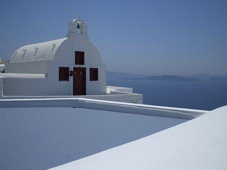 Greece, Santorini, Island, Church, Sea