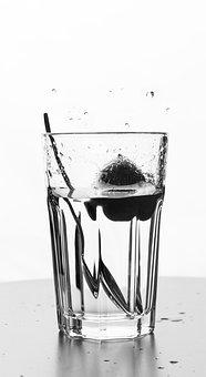 Drop, Water, Water Drop, Black And White, Glass, Light