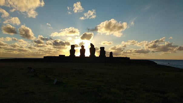 Clouds, Sunset, Easter Island, Horizon
