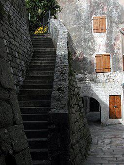 Kotor, Montenegro, Stairs, Steps, Old City, Walled City