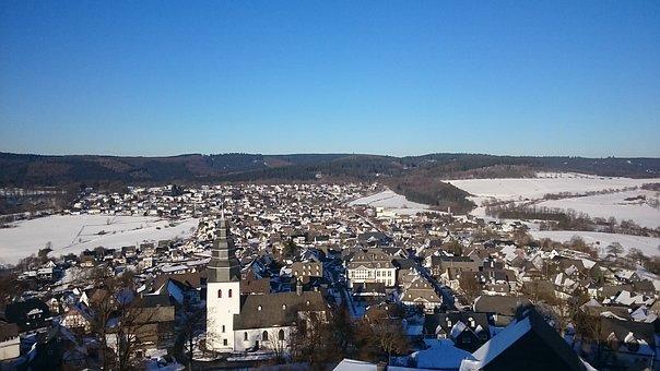 Sauerland, Mountains, Mountain Town, Eversberg, Winter