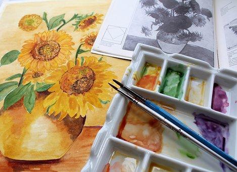Watercolour Paint, Paint Brush, Palette