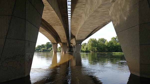 Loire, Bridge, France, River, Pillar