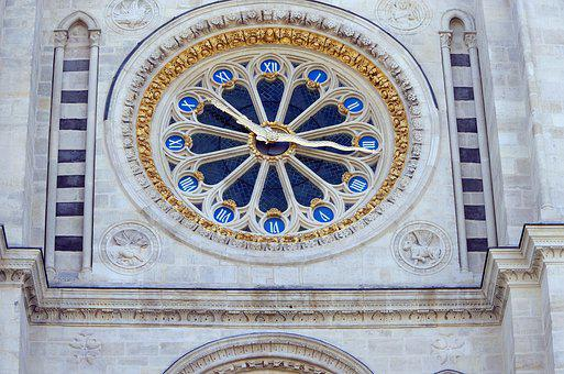 Clock, Rosette, St Denis, Basilica, Royal, Necropolis