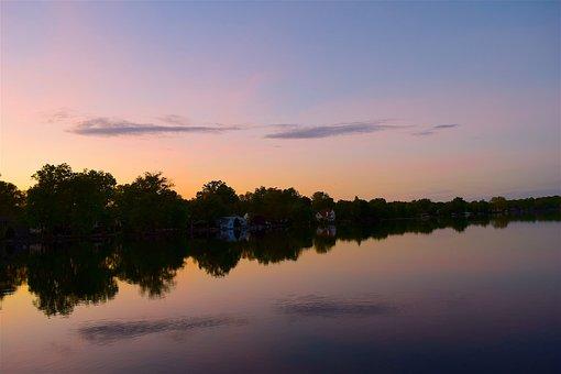 Sunset, Lake, Landscape, Harbor, Water, Sky, Nature