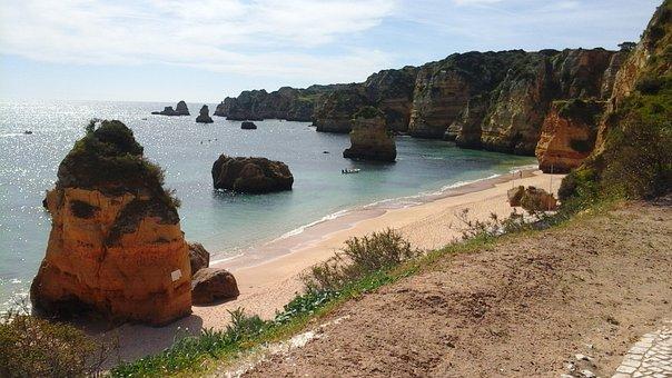 Algarve, Beach, Shore, Vacation, Portugal, Ocean, Cliff