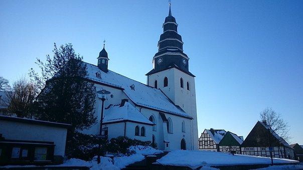 Sauerland, Eversberg, Church, Winter, Wintry, Nature