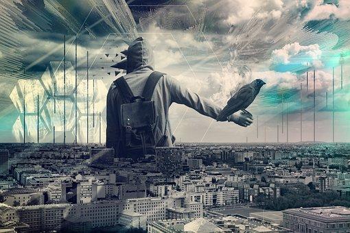 Design, City, Man, Abstract, Art, Modern, Hipster, Crow