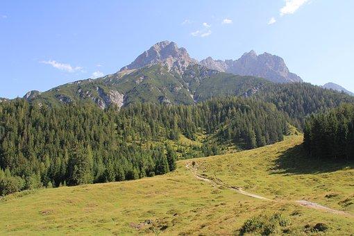 Mountains, Alm, Alpine, Austria, Meadow, Panorama