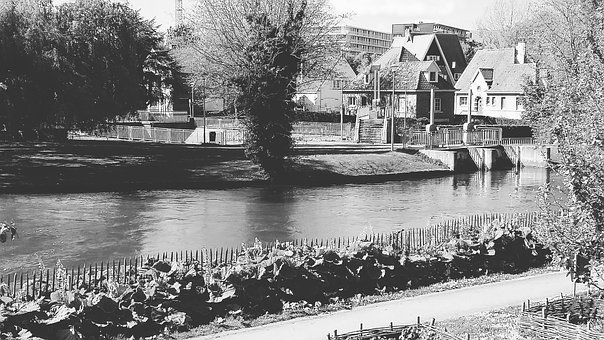 Bruges, Black And White, Places Of Interest, Channel
