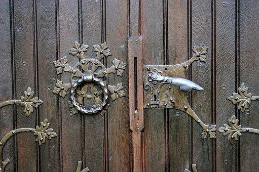 Old, Castle, Door Knob, Used, Ornament, Artfully