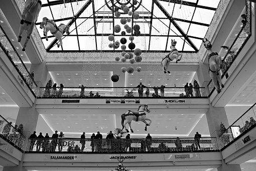 Mall, People, Architecture, Christmas, Decoration