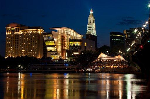 Downtown, Skyline, Night, City, Architecture, Cityscape