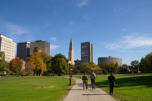 Downtown, Park, Walk, City, Cityscape, Skyline, Urban