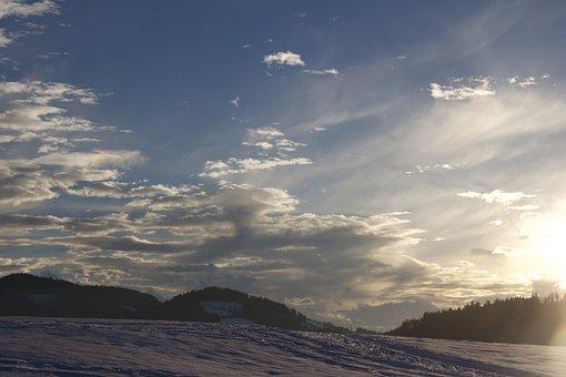 Sunset, Winter Mood, Snow, Wintry, Cold, Lighting