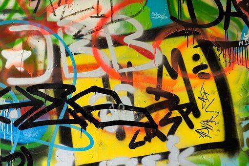 Grafitti, Wall, Colorful, Background