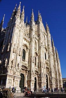 Milan, Cathedral, Ch, Church, Italian, Facade, Religion