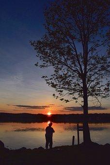 Silhouette, Fisherman, Shore, Sunset, Fishing, Water