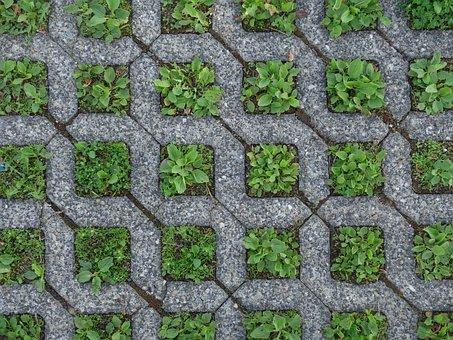 Ground, Squares, Grass, Concrete, Green, Grey, Pattern