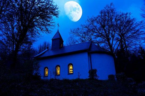 Chapel, Night Photograph, Moon, Blue, Mystical, Old