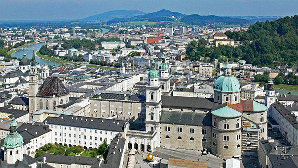Salzburg From The Castle Hill, Old Town, Dom, Salzach