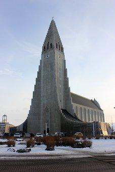 Church, Iceland, Snow, Sky, Winter, Travel, Blue