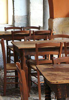 Wood, Verona, Italy, Old, Brown, Chair, Table, Outside