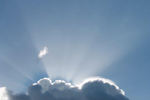 Sun Rays, Clouds, Blue Sky, Nature, Air, Sun, Heaven