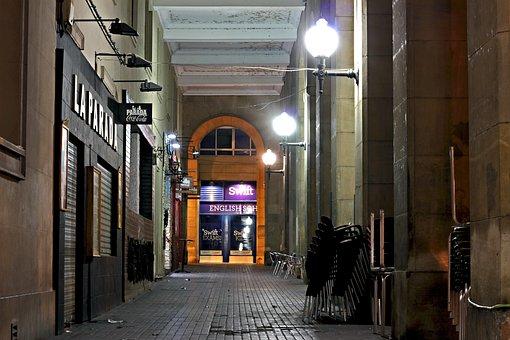 Street, Alley, Night, City, Old, Lane, Empedrado, Stone